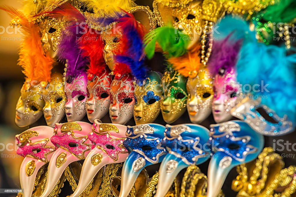 Colorful carnival masks Venice stock photo