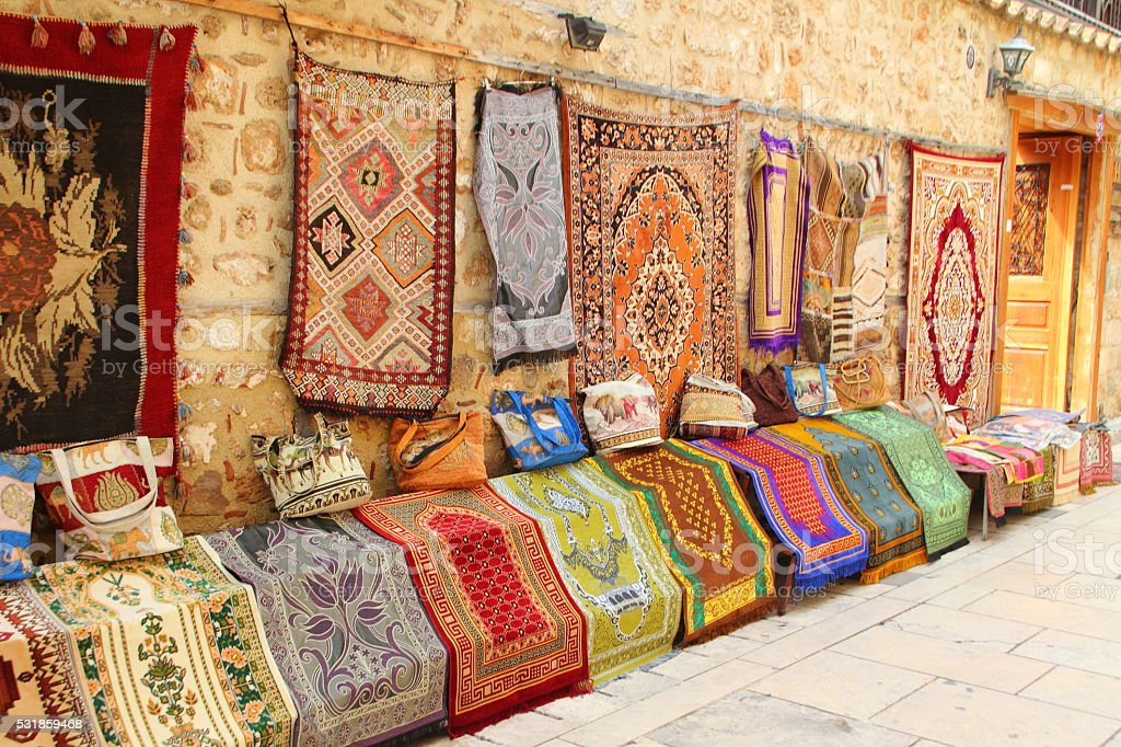 colorful carpets in antalya kaleici stock photo