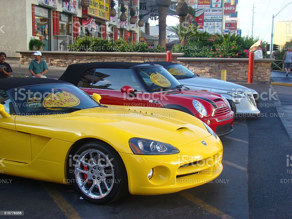 Colorful Cars for Rent in Las Vegas stock photo