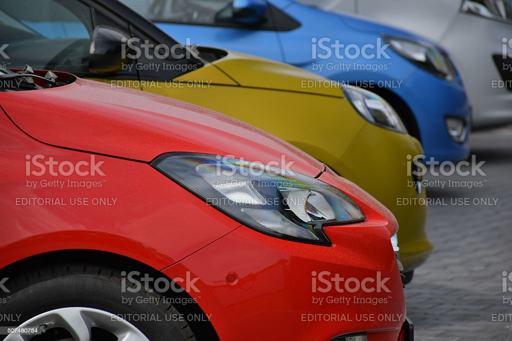 Colorful cars parked on the dealer parking stock photo