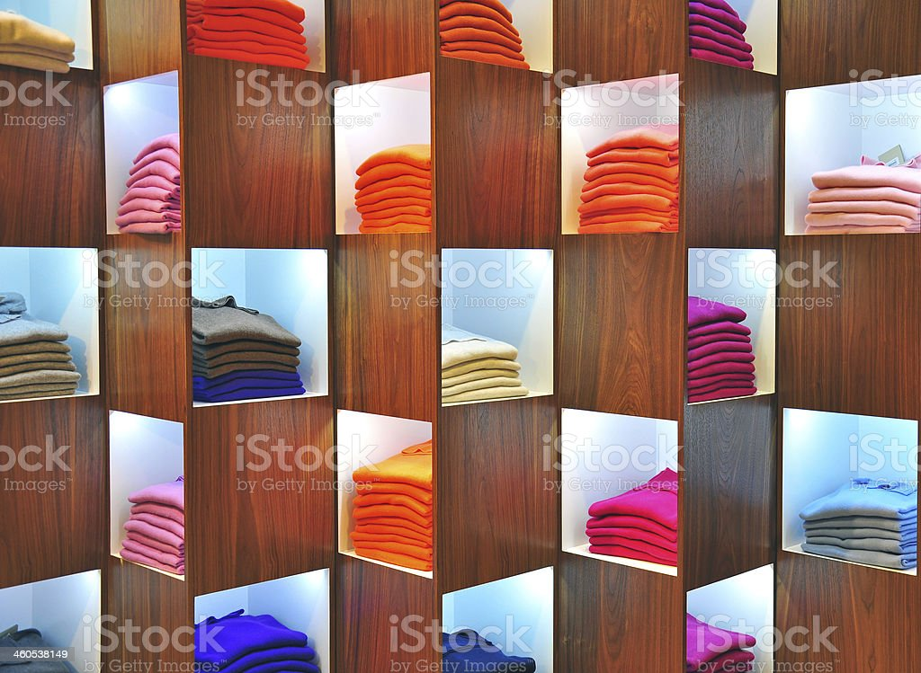 Colorful cashmere sweaters stock photo