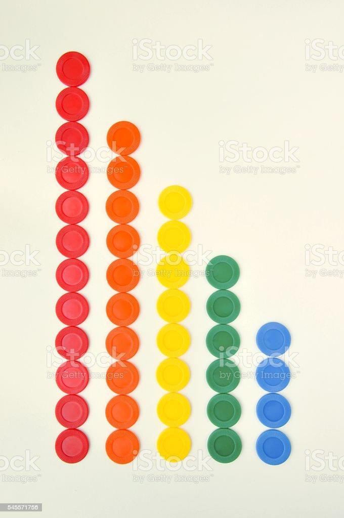 Colorful casino chips from a toy set arranged in columns foto de stock libre de derechos