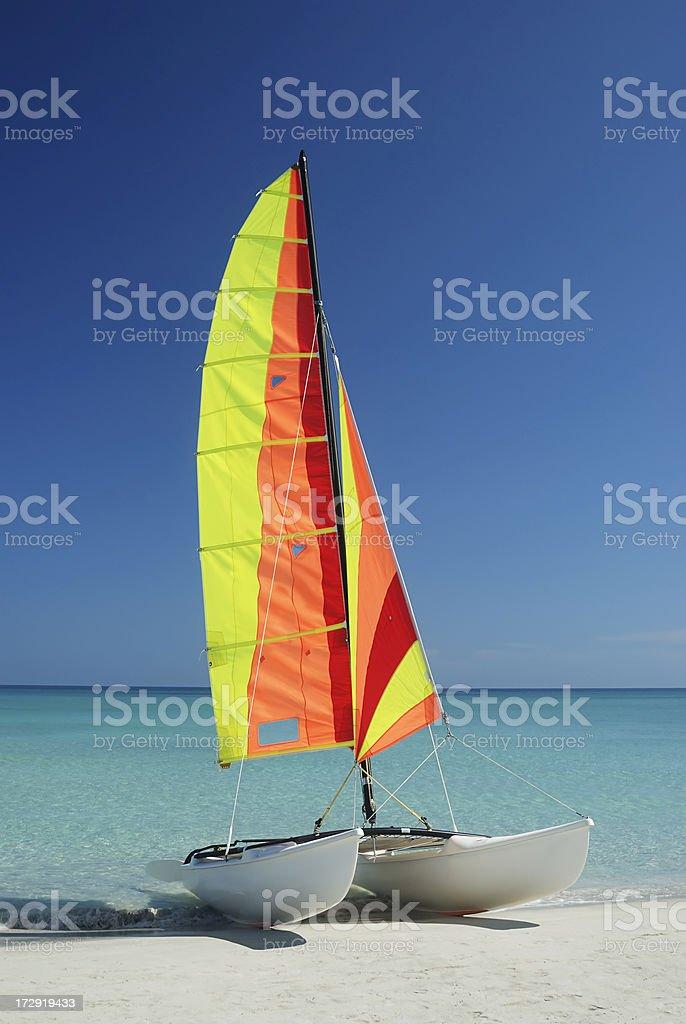 Colorful catamaran stock photo
