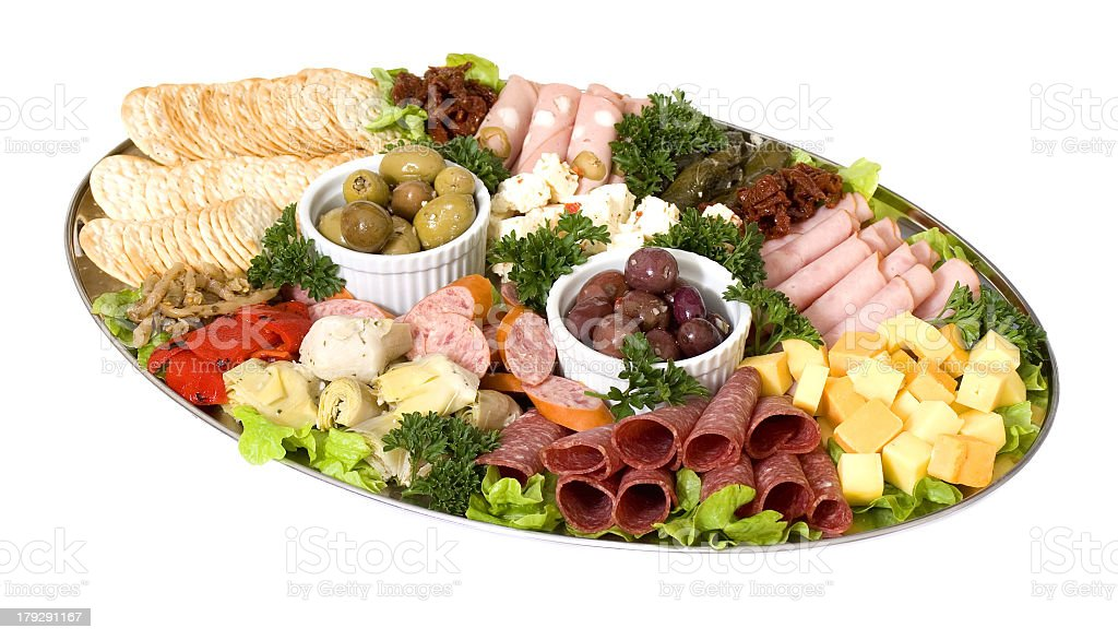 Colorful catering platter of antipasto stock photo