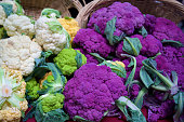 colorful cauliflower at the farmer's market