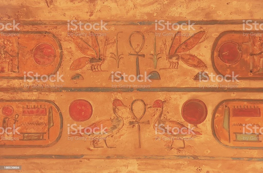 Colorful ceiling carving, Karnak temple complex, Luxor royalty-free stock photo
