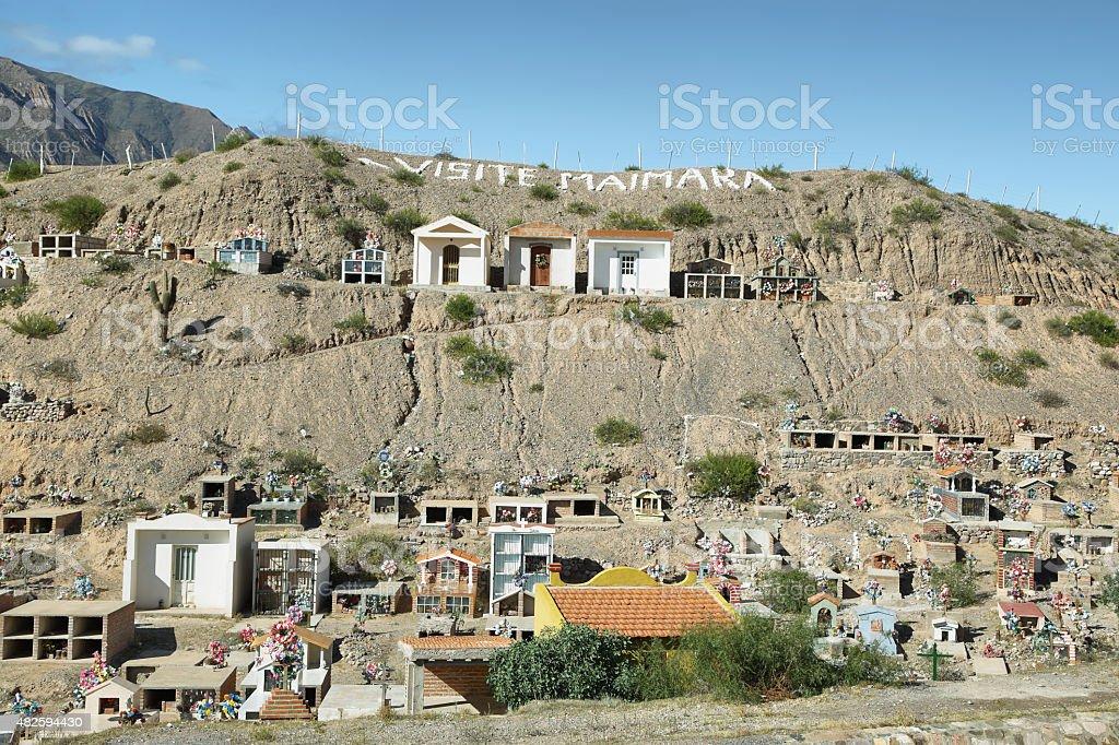 Colorful cemetery of Maimara village stock photo