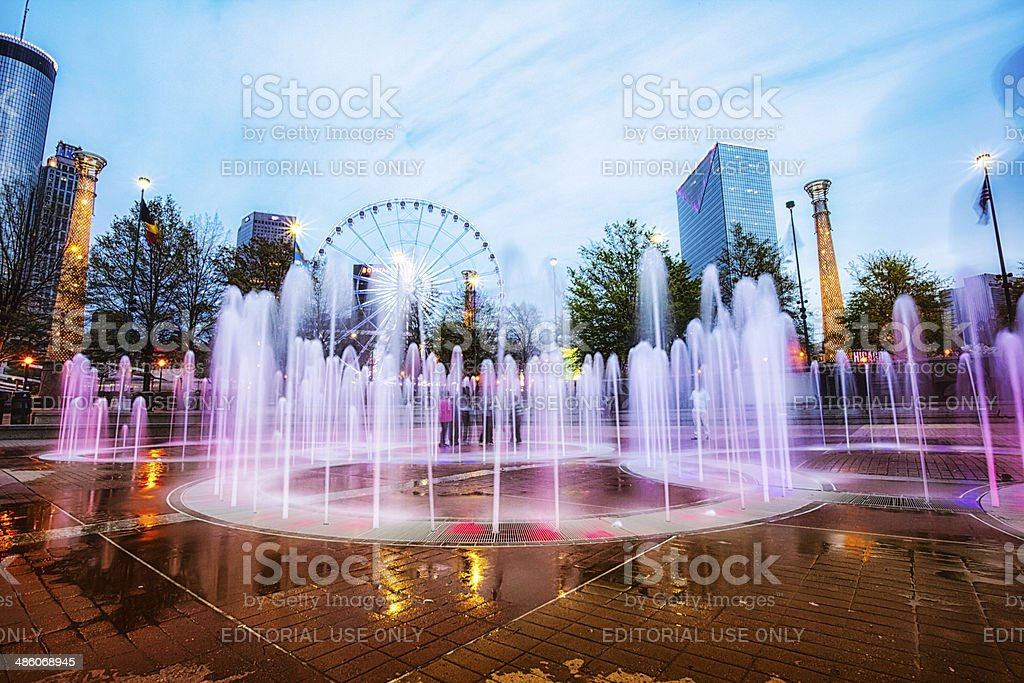 Colorful Centennial Fountain at night stock photo