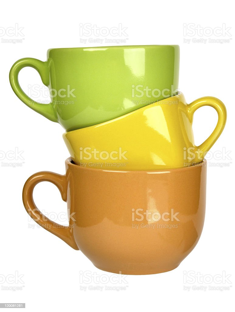 colorful ceramic cups royalty-free stock photo