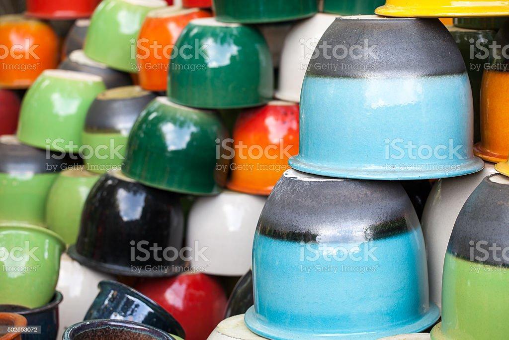 Colorful ceramic jars stock photo