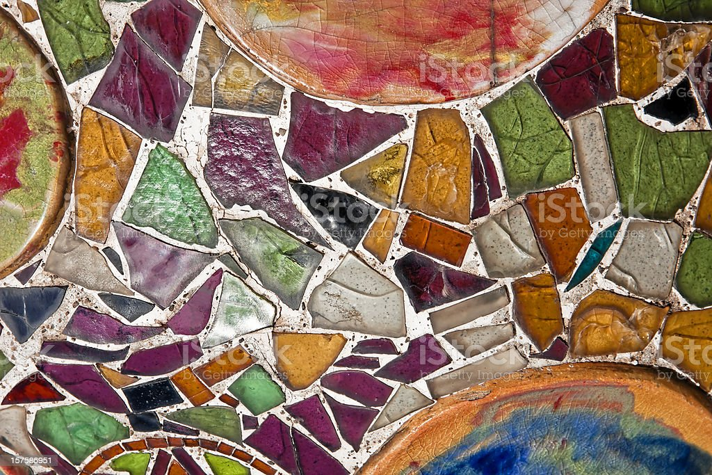 Colorful Ceramic Mosaic by Gaudì in Barcelona stock photo