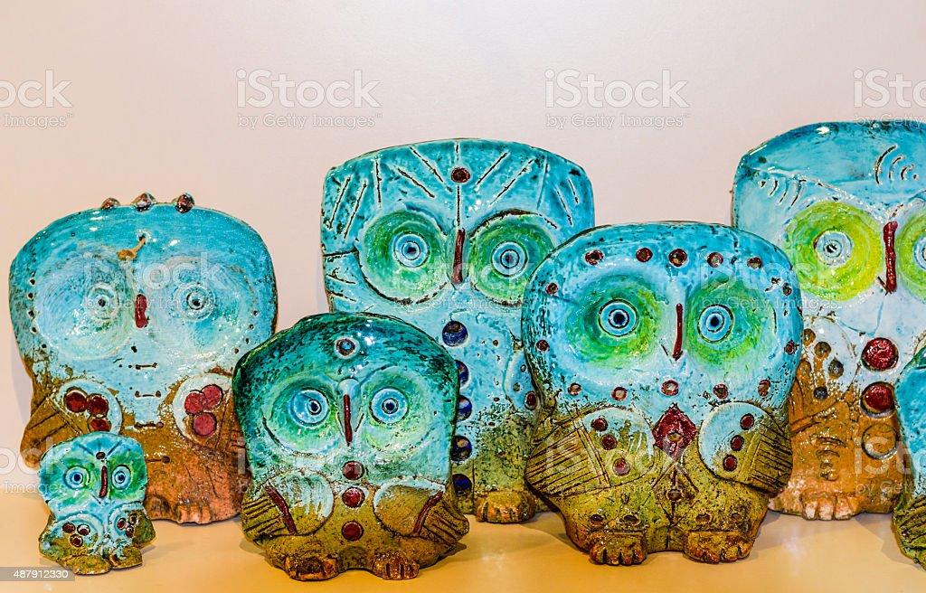 Colorful ceramic souvenirs stock photo