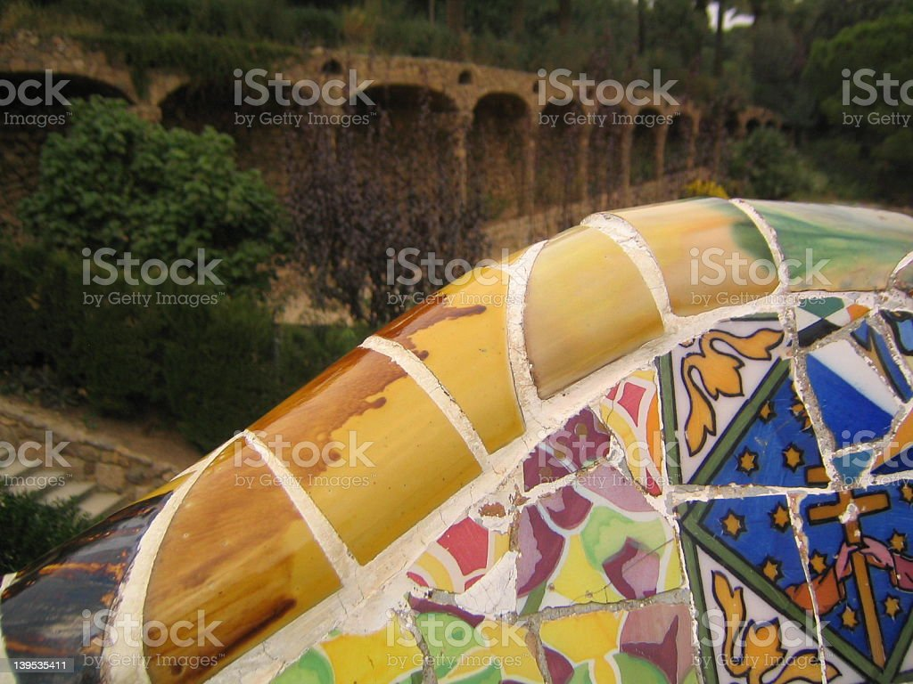 Colorful ceramics at Park Guell, Barcelona royalty-free stock photo
