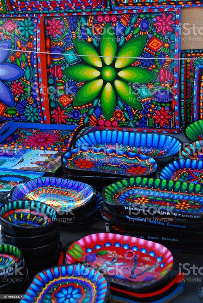 Colorful Ceramics on Display stock photo