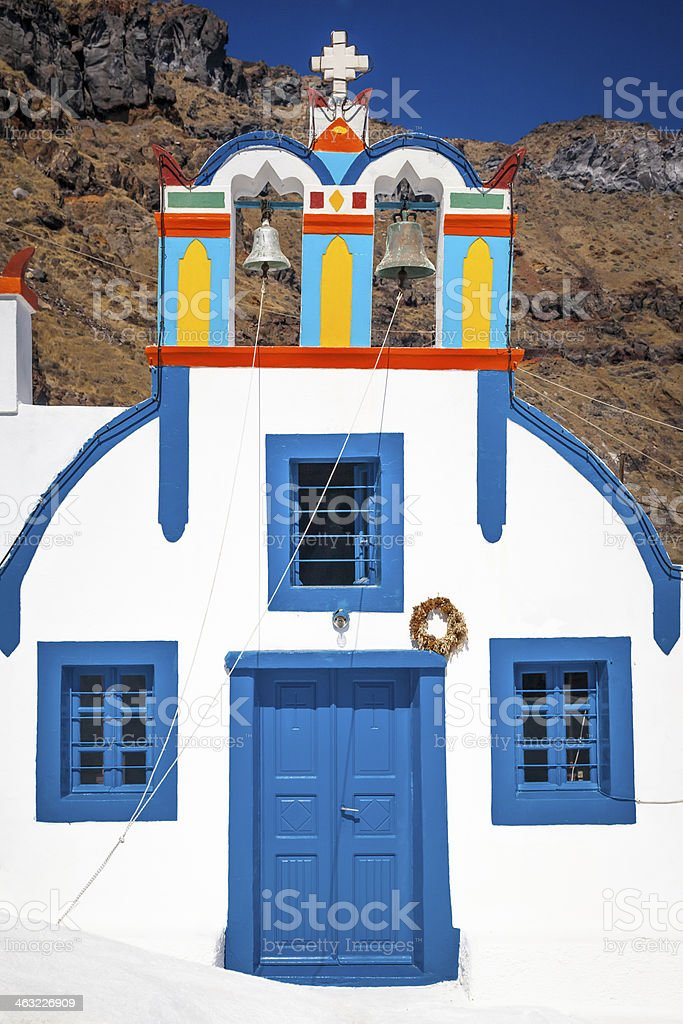 Colorful Chapel in Thirasia stock photo