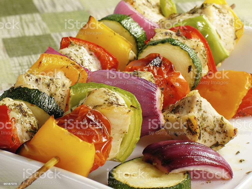 Colorful Chicken Kebabs stock photo
