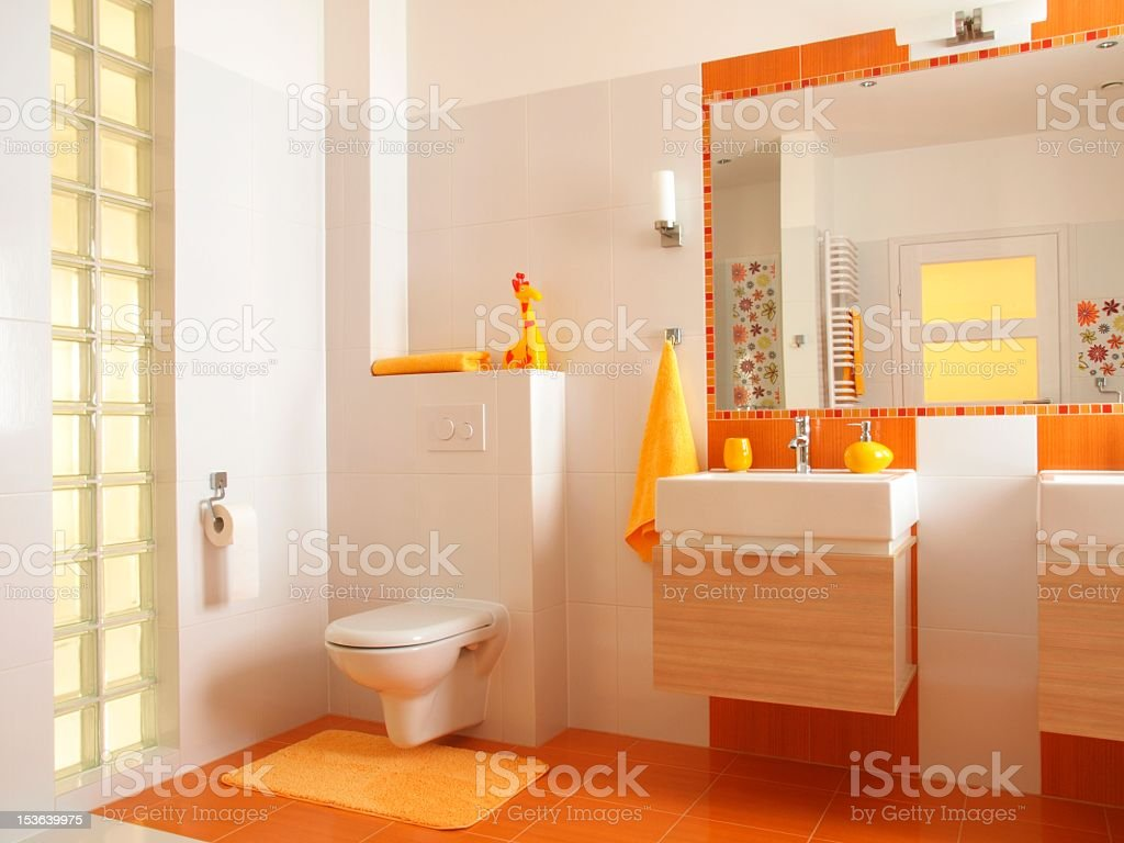 Colorful children bathroom with toilet royalty-free stock photo