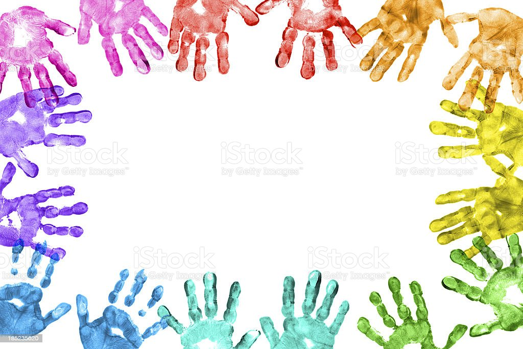 Colorful Children Hand Prints Frame stock photo