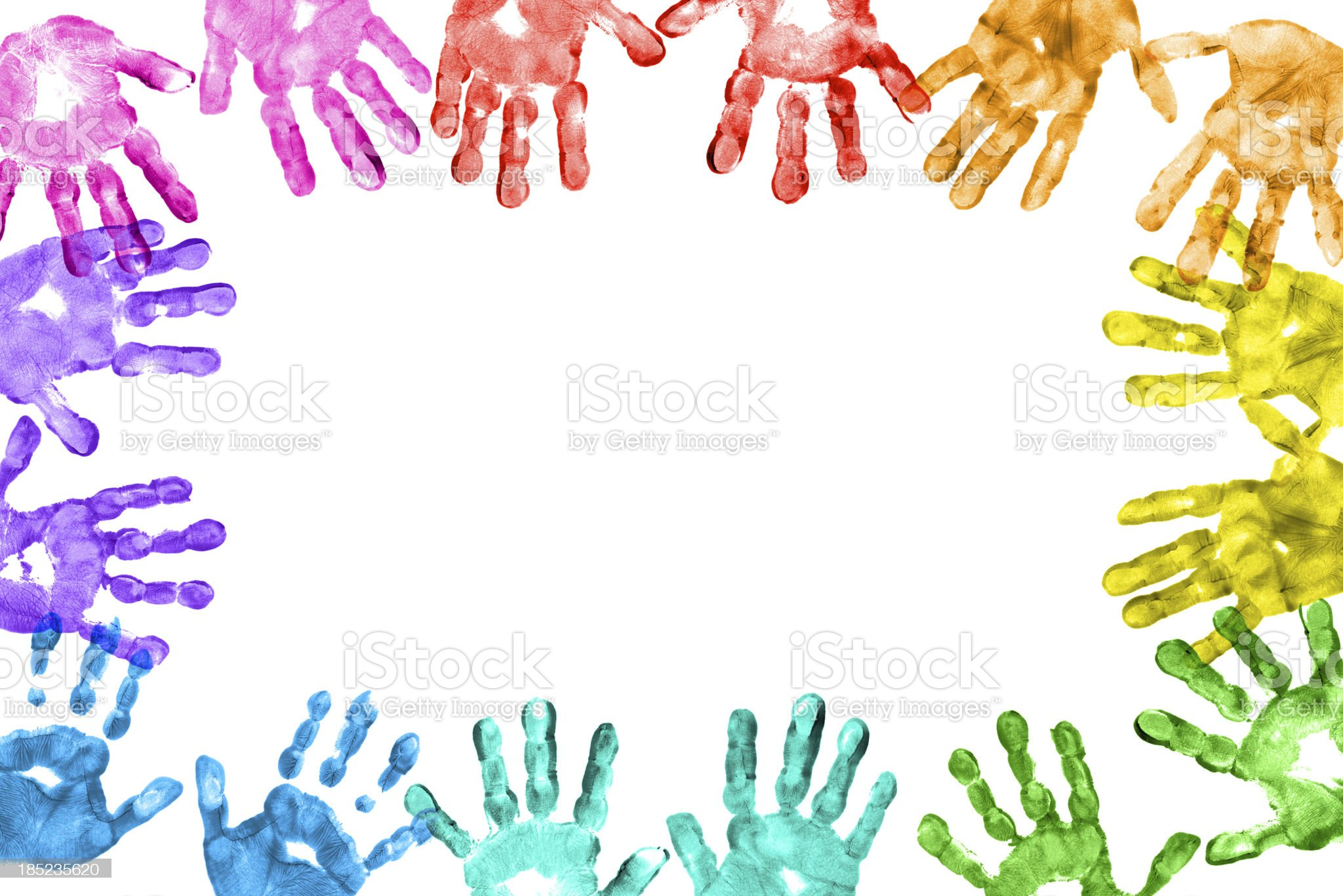 Colorful Children Hand Prints Frame royalty-free stock photo