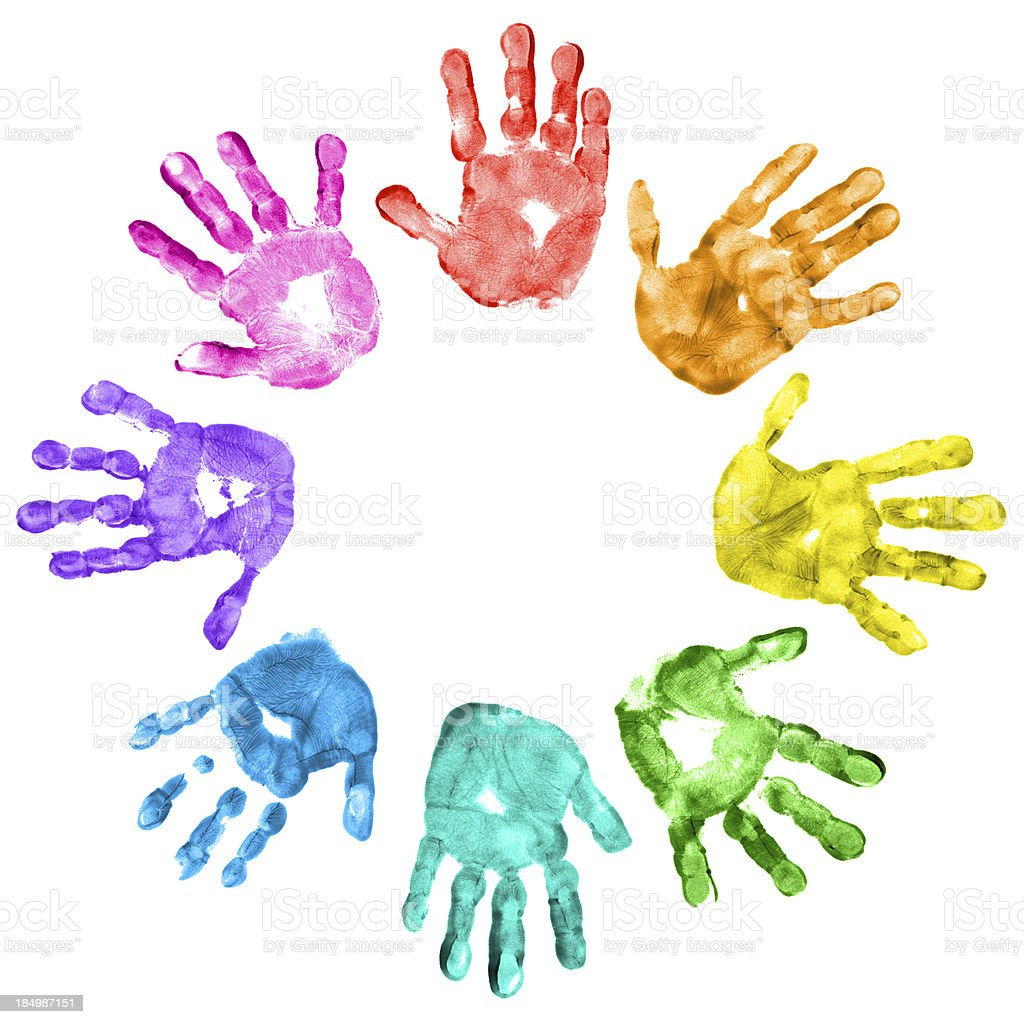 Colorful children handprints on a white background royalty-free stock photo