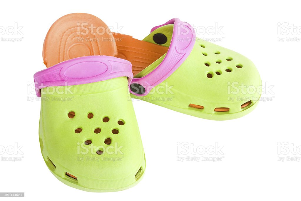 Colorful Children's rubber sandals royalty-free stock photo