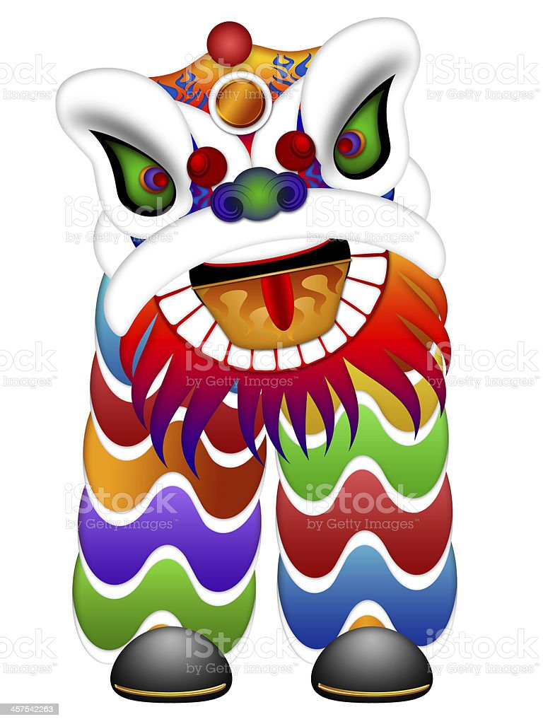 Colorful Chinese Dancing Lion Illustration stock photo