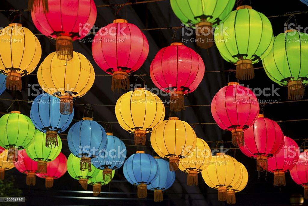 Colorful Chinese lanterns stock photo