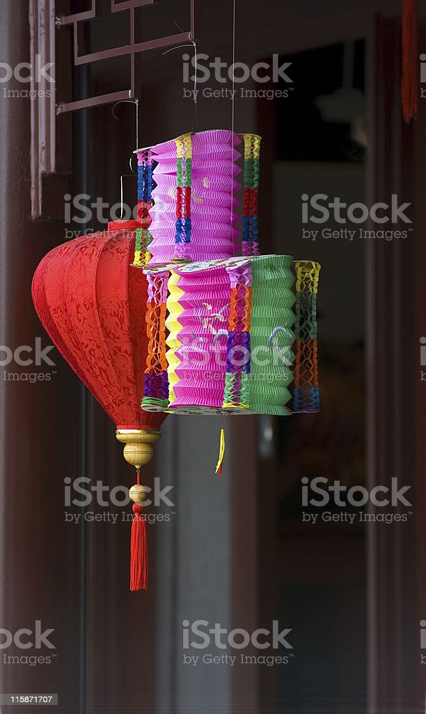Colorful chinese paper lanterns stock photo