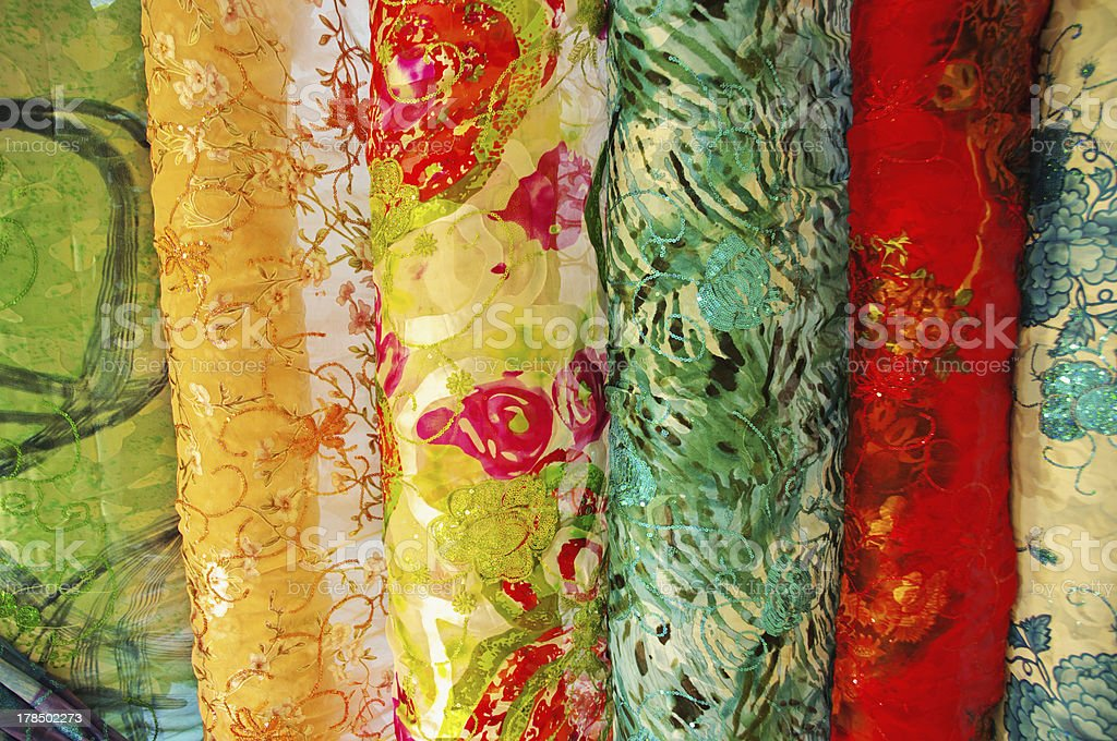 colorful Chinese silk samples royalty-free stock photo