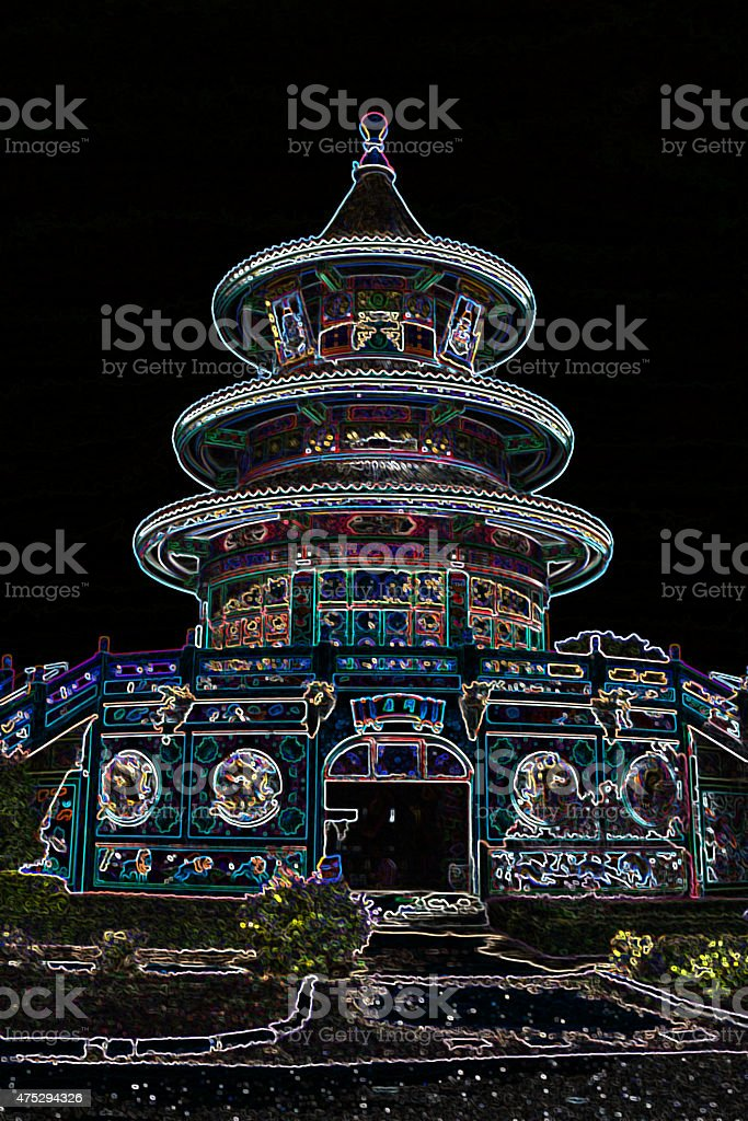 colorful chinese temple with neon lights,Kanchanaburi, Thailand vector art illustration
