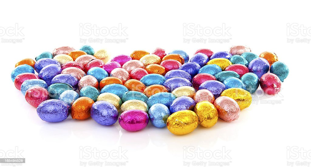 Colorful chocolate easter eggs royalty-free stock photo
