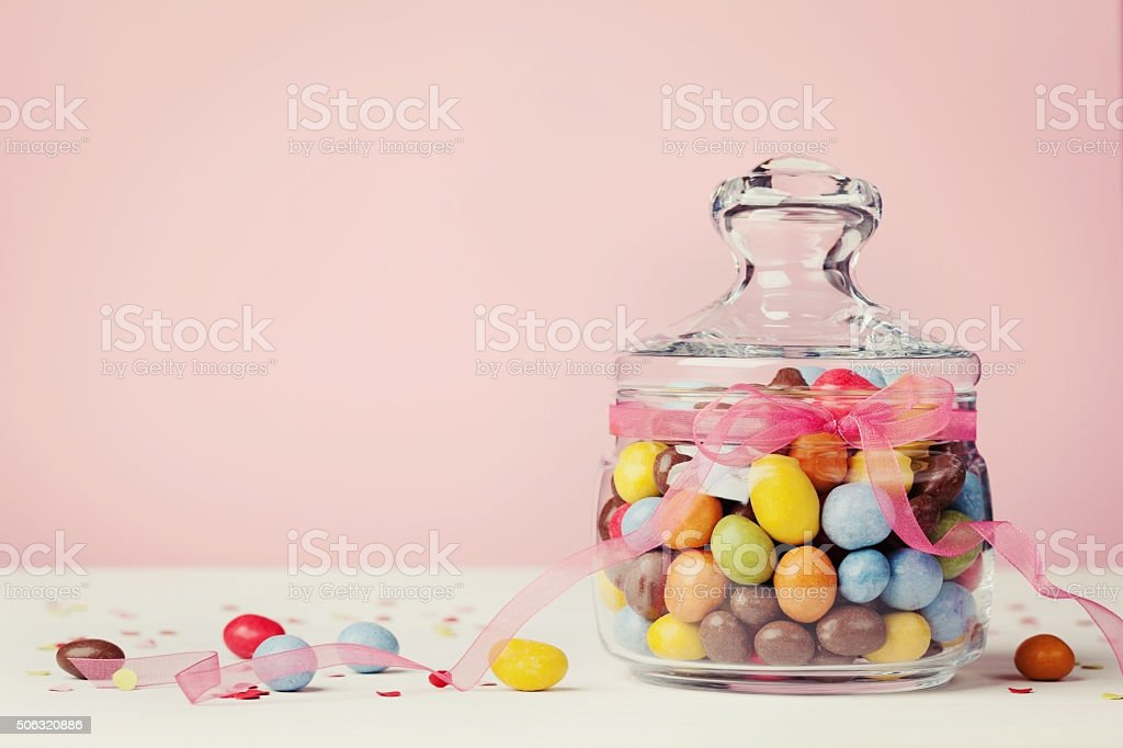 Colorful chocolate sweets or candy as holiday gift or present stock photo
