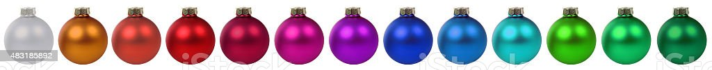 Colorful Christmas balls baubles decoration border in a row isolated stock photo