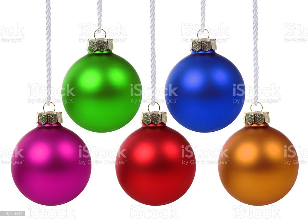 Colorful Christmas balls hanging isolated stock photo