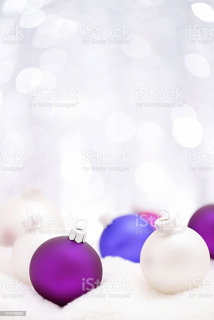 Colorful christmas balls with copy space stock photo