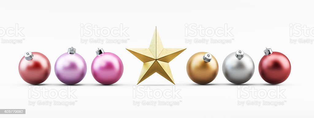 Colorful Christmas Baubles on White with Golden Star stock photo
