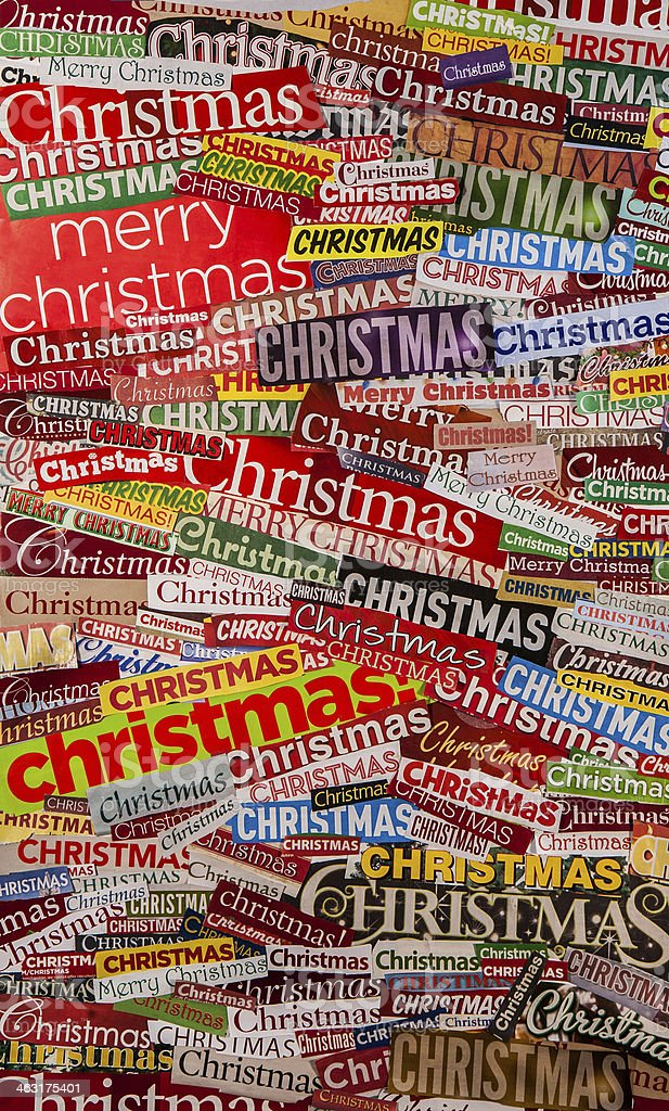Colorful CHRISTMAS newspaper clipping collage stock photo