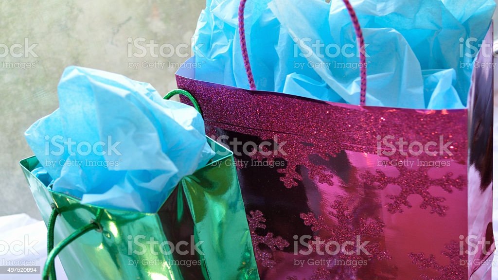 Colorful Christmas presents stock photo