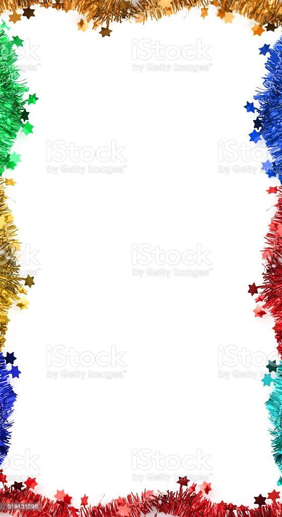Colorful Christmas tinsel frame stock photo