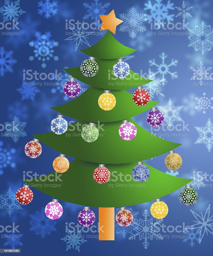 Colorful Christmas Tree on Blurred Snowflakes Background royalty-free stock photo