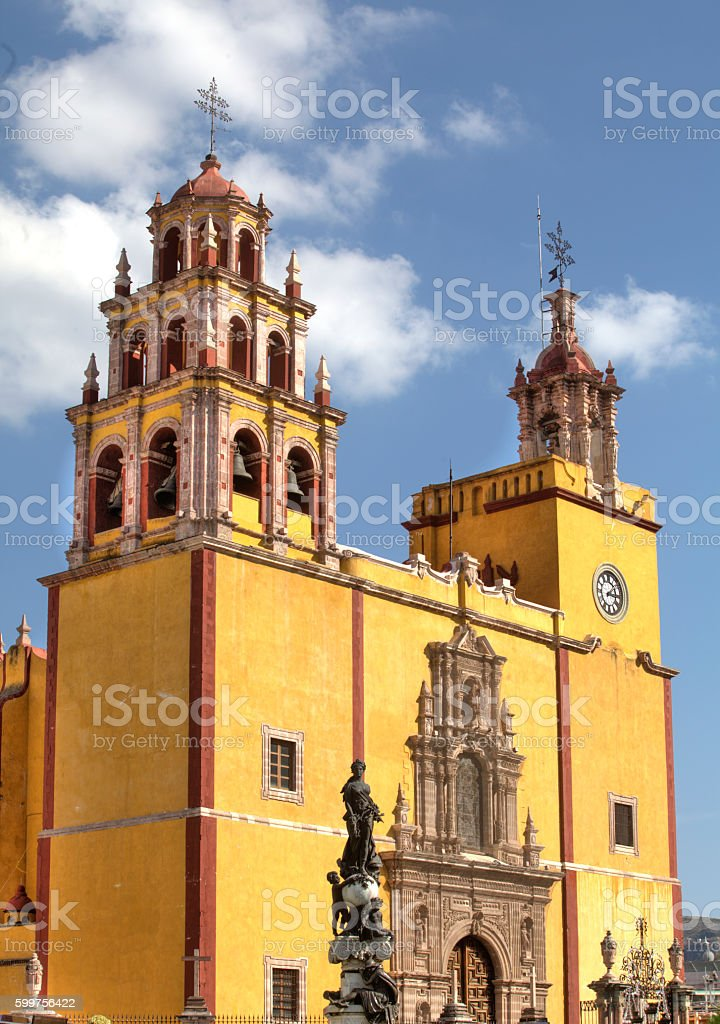 Colorful church in old town stock photo