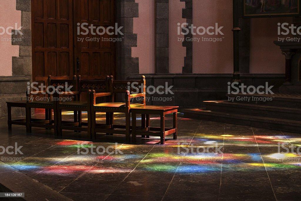 Colorful church scene lighting royalty-free stock photo