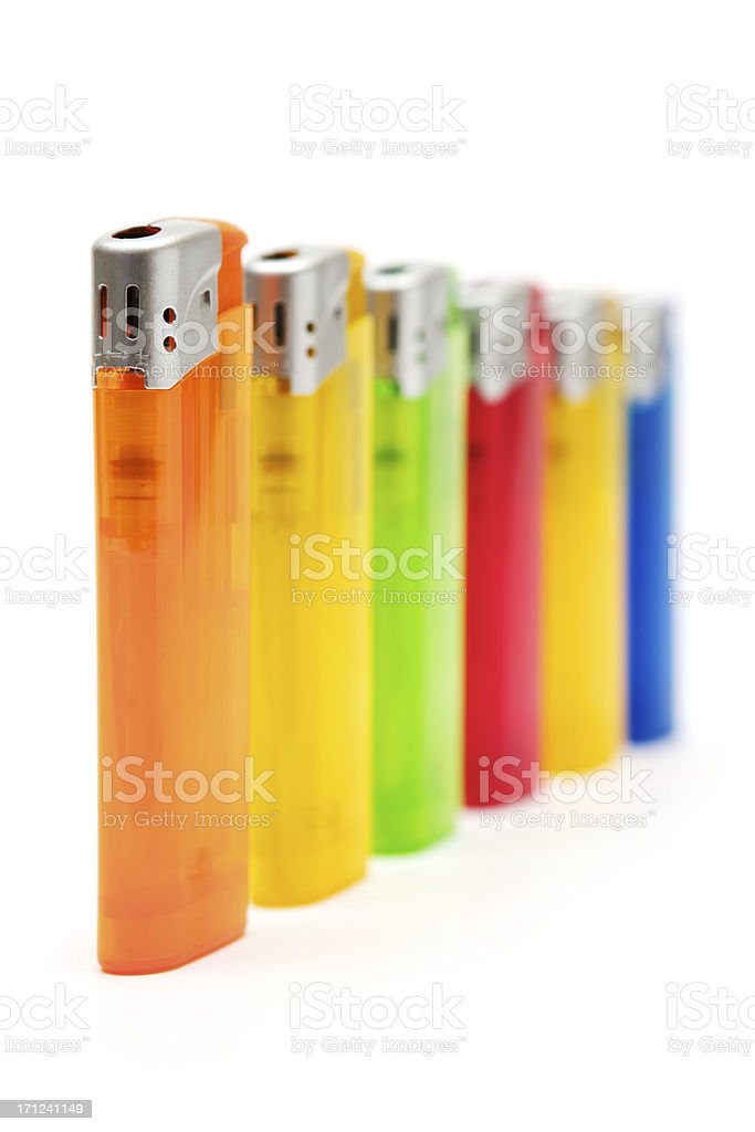 Colorful Cigarette Lighters royalty-free stock photo