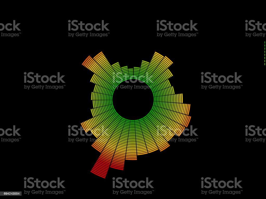 Colorful circle music equalizer. Isolated on black background. Digital illustration. stock photo