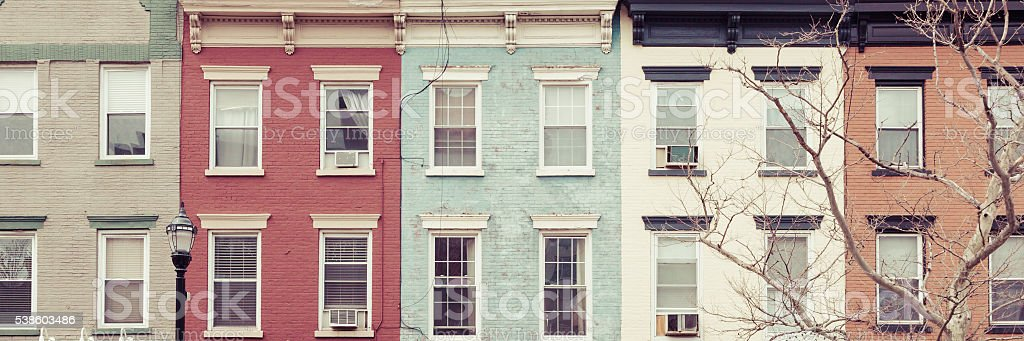 Colorful City Buildings stock photo