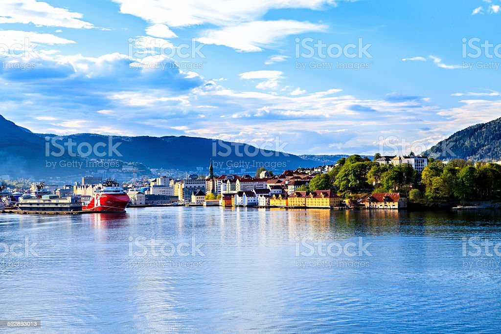 Colorful city of Bergen in Norway view from water stock photo
