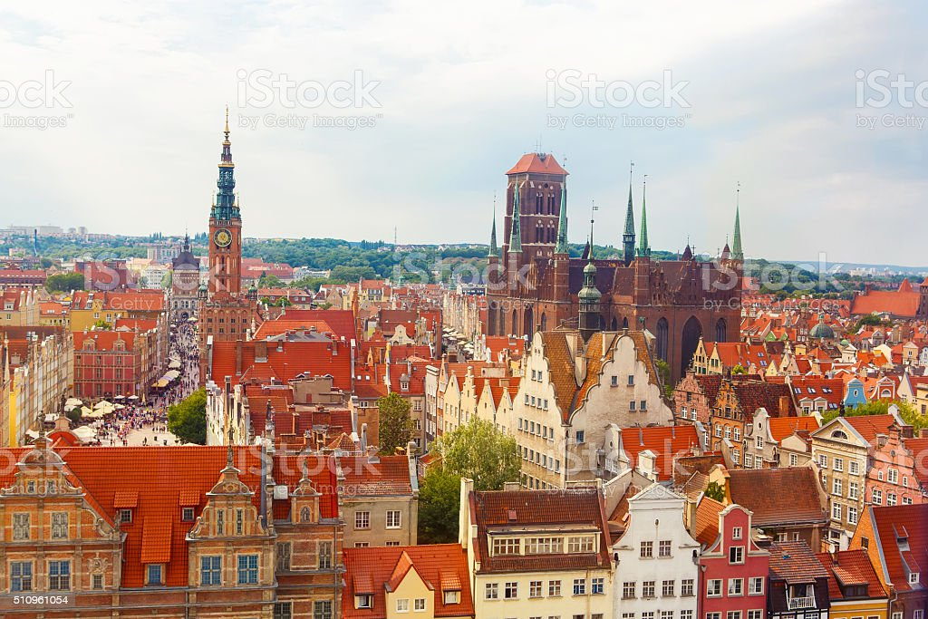 Colorful Cityscape of Gdansk in Poland stock photo