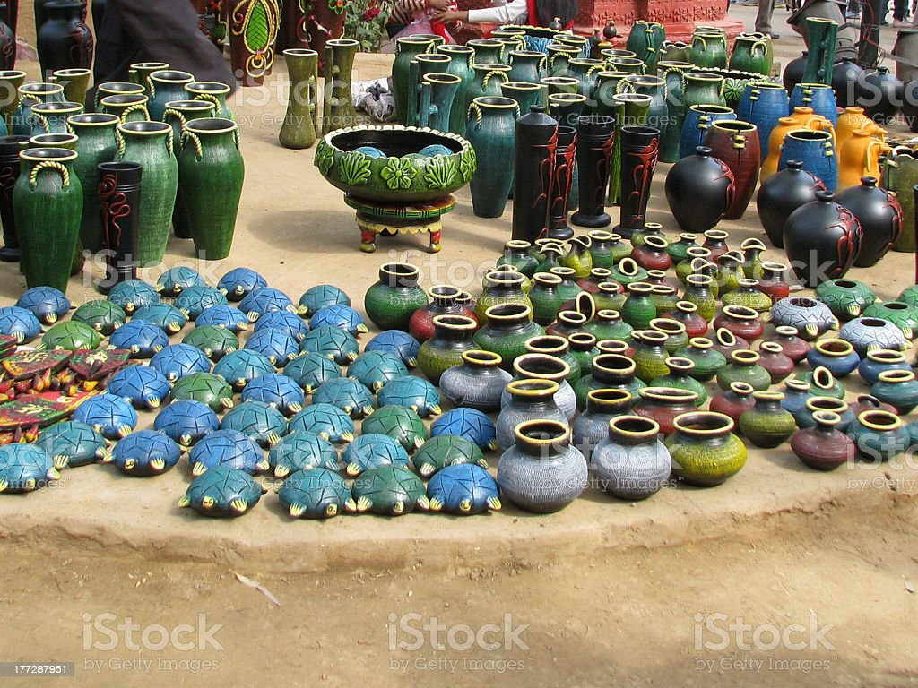 Colorful Clay Pots royalty-free stock photo