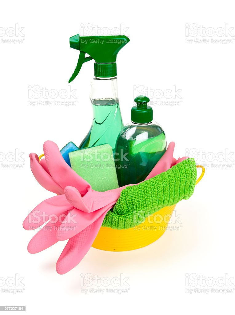 colorful cleaning set stock photo