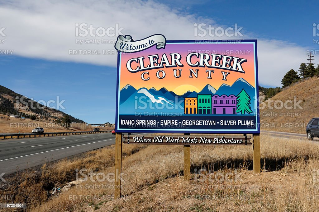 Colorful Clear Creek County Sign stock photo